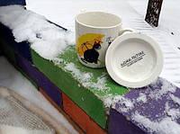 Набор чашек Кот с зонтом (2 чашки, крышки, ложки)