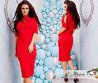 Платье женское замшевое с галстуком