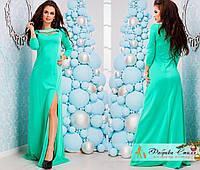 Вечернее макси платье украшено стразы с жемчугом