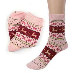 Шкарпетки Теплі Зимові Жіночі Дизайн Різдвяний Олень Вовняні 23-24р