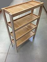 Стеллаж деревянный 120х80х30см, 4 полки