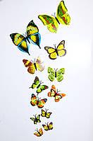 3D бабочки для декора лимонные .