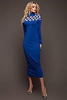 Стильное Облегающее Платье Миди под Горло с Перфорацией Цвета Электрик S-XL