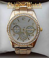 Женские часы с камнями (желтый+белый)
