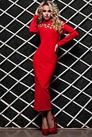 Стильное Облегающее Платье Миди под Горло с Перфорацией Красное S-XL