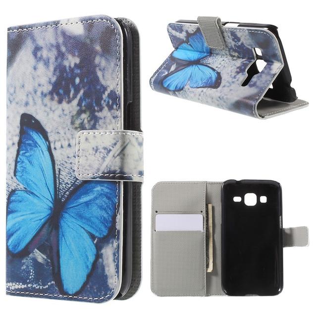 чехол книжка на samsung g360 с голубой бабочкой