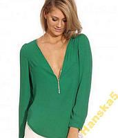Блузка шифоновая зеленая на замочке
