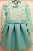 Праздничное бирюзовое платье гипюр1-4 года
