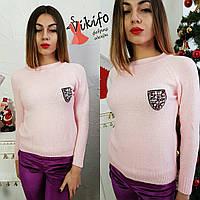 Свитер женский вязаный с декоративной нашивкой разные цвета SSf53