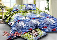 """Комплект постельного белья двуспальный евро """"Белые лебеди""""."""