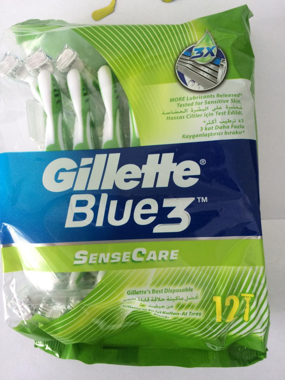 Верстат чоловічий одноразовий Gillette Blue 3 Sensitive ( Жиллетт Блю 3 Сенсетів) 12 шт.