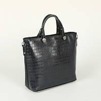 Деловая сумка в синем крокодиловом тиснении
