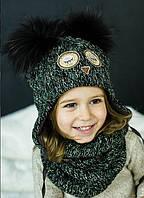 """Зимний комплект (шапка+хомут) для девочки """"Натамия"""",размер 50 см"""