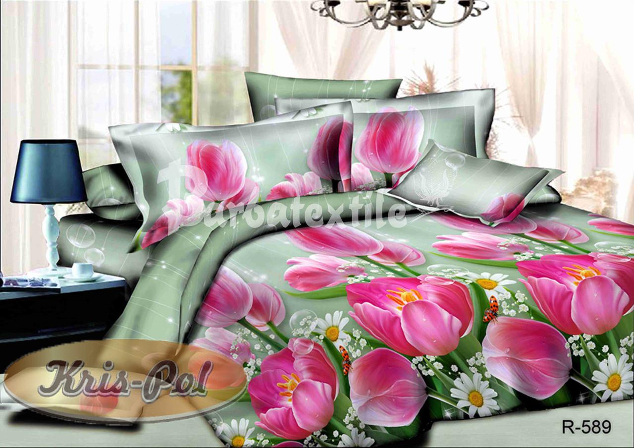 Двуспальный комплект постельного белья евро 200*220 хлопок  (6442) TM KRISPOL Украина