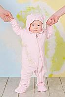 """Слингокомбинезон велюровый для новорожденного """"My baby"""" розовый (мишки)"""