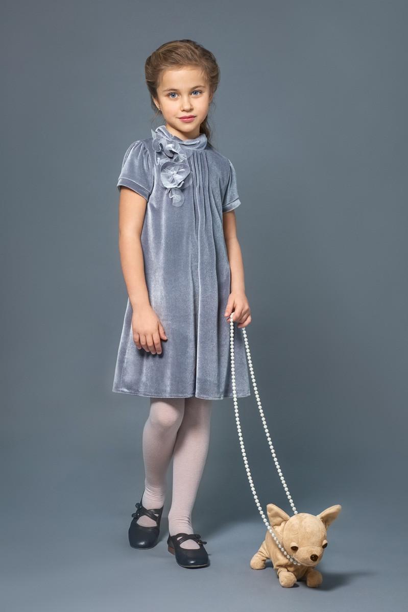 Плаття нарядне оксамит сіре