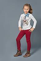 Теплые брюки-скинни для девочек с начесом бордо