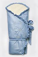 """Конверт-одеяло зимний на меху """"Сказка"""" для мальчика голубой"""