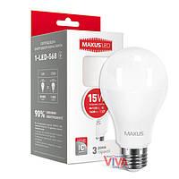 LED лампа MAXUS A70 15W E27 4100K яркий свет 220V (1-LED-568), фото 1