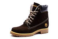 Зимние ботинки Timberland,высокие, унисекс, коричневые, натуральный нубук, на меху, фото 1