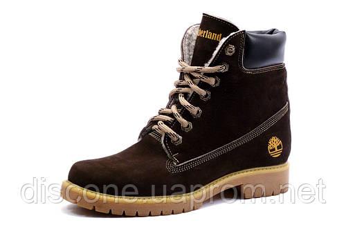 Зимние ботинки Timberland,высокие, унисекс, коричневые, натуральный нубук, на меху