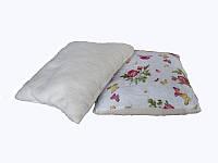 Меховая подушка, силиконовый наполнитель, бязь Бабочки-розы (50х50 см.)