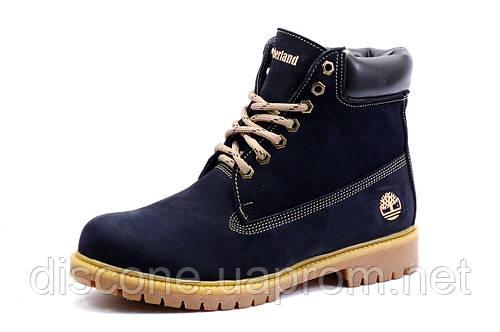 Зимние ботинки мужские Timberland, на меху, натуральный нубук, темно-синие