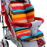 Матрасик детский полосатый в коляску стульчик