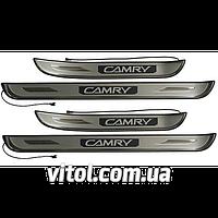 Накладки на пороги с подсветкой CAMRY V30 2002-2006  WE-S0780-EL/Т99-502
