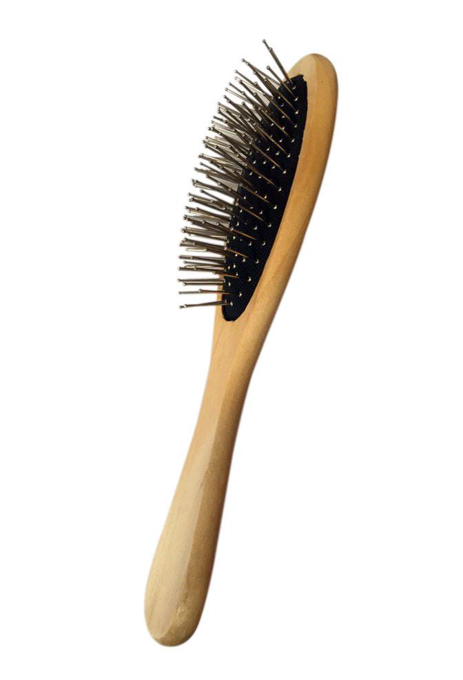 Расческа массажная овальная деревянная с железными зубьями