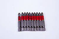 Биты для отвёрток и шуруповёртов Рекос (Россия) PH2 L-70 мм 10 штук/набор (блистер), фото 1