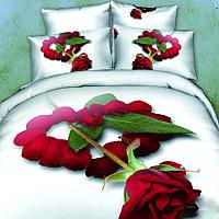 Постельное белье розы сатин 3d сатин Love you семейный