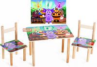 Детский Набор столик и два цветных стульчика Лунтик