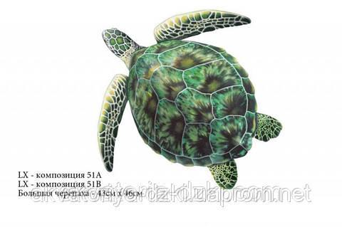 Большая черепаха, 50х50см, цвет - зелено-серый