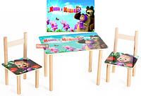 Детский Набор столик и два цветных стульчика Маша и медведь