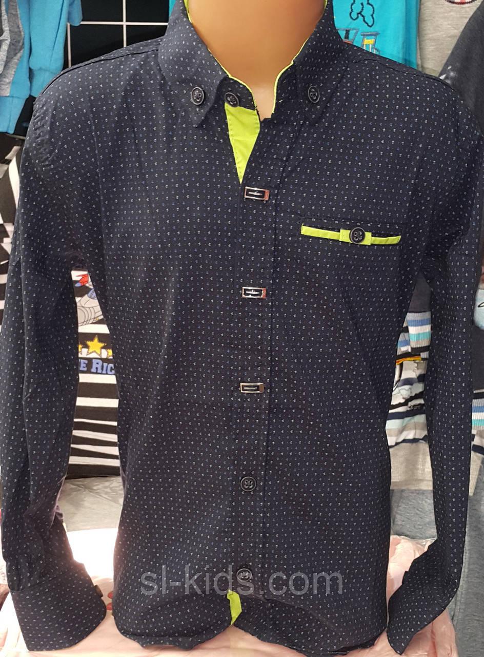 Стильная стрейчевая рубашка для мальчика 6-14 лет (темно синяя) (пр. Турция)