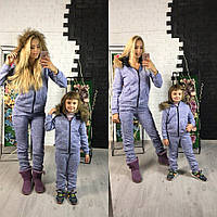 Костюм теплый на флисе с меховым воротником для мамы и дочки в разных цветах MDp07