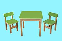 Детский Эко набор Стол деревянный цветной и 2 стульчика, салатовый