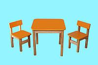 Детский Эко набор Стол деревянный цветной и 2 стульчика, цвет оранжевый