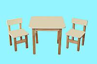 Детский Эко набор Стол деревянный цветной и 2 стульчика, цвет ваниль