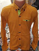 Стильная стрейчевая рубашка для мальчика 6-14 лет (горчица) опт (пр. Турция)