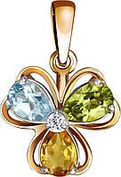 Кулон золотой c цветными полудрагоценными  камнями