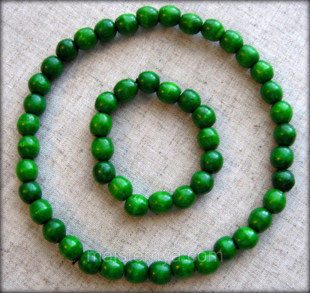 Набір буси з дерева + браслет темно зеленого кольору