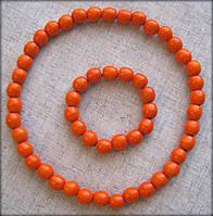 Набір буси з дерева + браслет морквяні