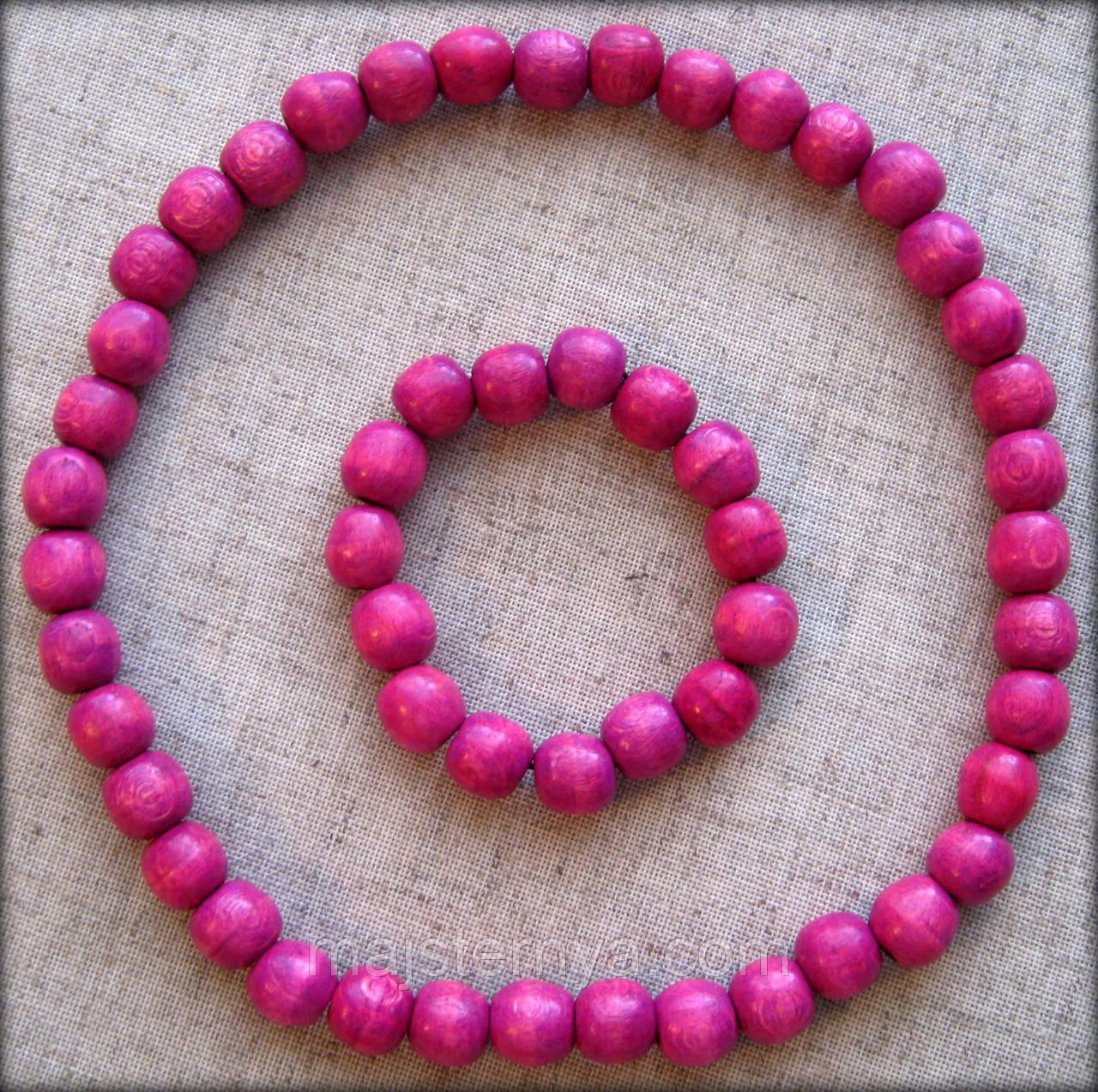 Набір буси з дерева + браслет розовий відтінок