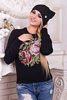 Шапка с ушками. Шапки черного цвета. Шапка женская. Теплая зимняя шапка. Женская шапка.