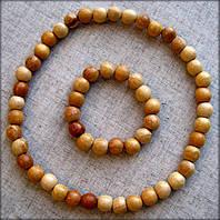 Набір буси + браслет з дерев'яних бусинок покритих прозорим лаком