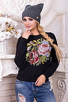 Шапка с ушками. Шапка цвет: темный джинс. Шапка женская. Теплая зимняя шапка. Женская шапка.
