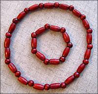 Набір дерев'яне намисто та браслет червоного (вишневого) кольору