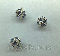 Стразовая бусина Preciosa (Чехия) 6 мм Crystal Bermuda Blue/серебро